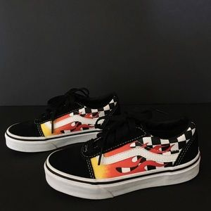 Children's Vans black white checked flames low 12Y